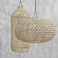 Handwoven Bamboo Short Lampshade in Natural