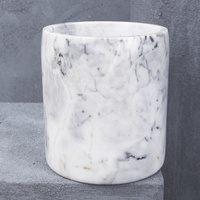 Natural Marble Large Canister in White