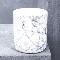 Natural Marble Small Canister in White