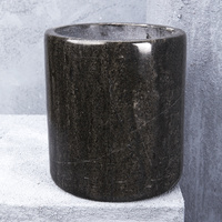 Natural Marble Large Canister in Black