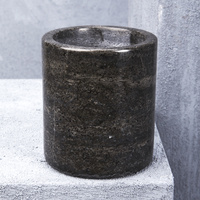 Natural Marble Small Canister in Black