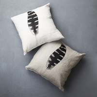 Feather Print Linen Cushion