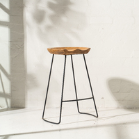 Tall Demir Shaped Bar Stool w Iron Legs