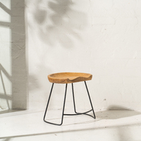 Demir Shaped Stool w Iron Legs - 45cm