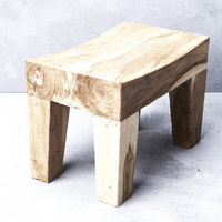 Arzu Mini Curved Side Table in Rustic Finish