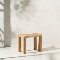 Talib Curved Side Table in Rustic Finish