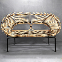 Diia Rattan Loveseat in Natural w Black Trim
