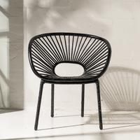 Kade Angular Rattan Armchair in Black