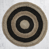 Black Stripe Handwoven Seagrass Mat 150cm