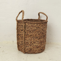 Large Waterhyacinth Basket w Plaited Handle