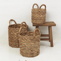 Natural Chevron Waterhyacinth Basket w Seagrass Pattern