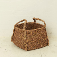 Waterhyacinth Rounded Square Basket w Plaited Handles