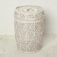 Whitewash Bamboo Laundry with Lid