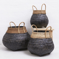 Bamboo Basket with Seagrass Trim Blackwashed
