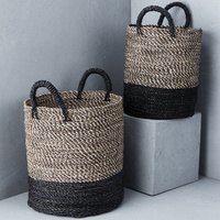 Contrast Handle Striped Basket with Black Base