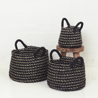 Black Striped Basket with Black Handles