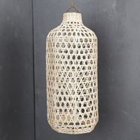 Handwoven Bamboo Tall Lampshade in Whitewash