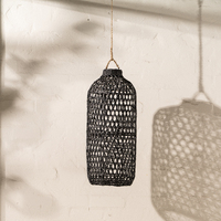 Handwoven Bamboo Tall Lampshade in Black
