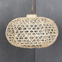 Handwoven Bamboo Short Lampshade in Whitewash