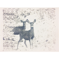 Deer print on Handmade Natural Paper 48 x 64