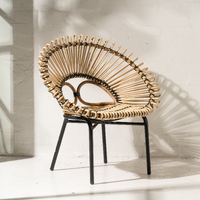 Diia Rattan Armchair in Natural with Black Trim