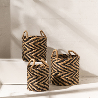 Indigo Chevron Waterhyacinth Basket w Seagrass Pattern