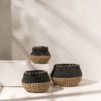 Mini Seagrass Belly Baskets in Contrast