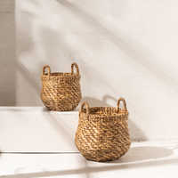 Waterhyacinth Octagonal Belly Basket with Handles