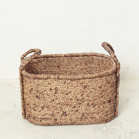 Waterhyacinth Oval Baskets w Plaited Handles