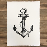 Anchor on Handmade Natural Paper 48 x 64