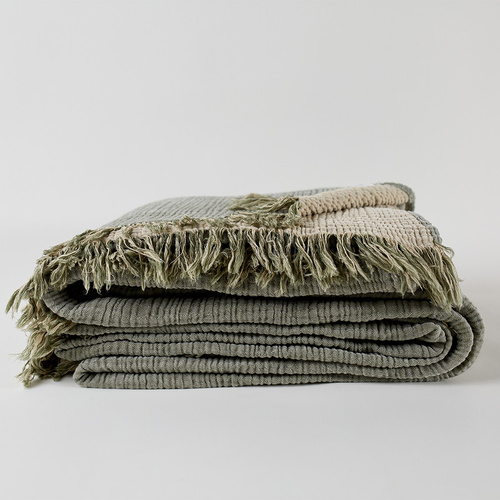 Enes Bed Cover l Olive/Clay