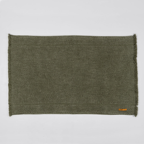 Vintage Wash Ribbed Bath Mat l Olive
