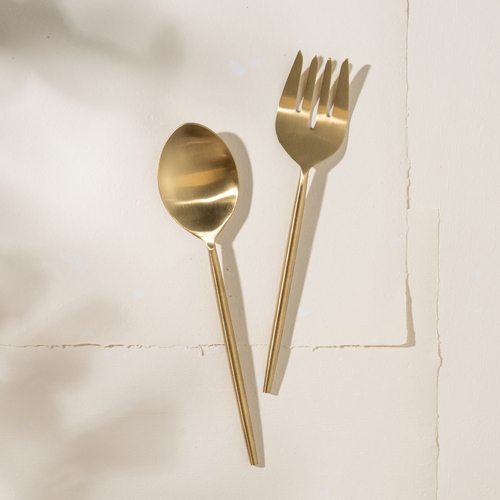 Ranya Salad Servers - Brass