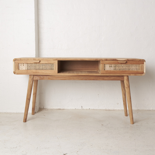 Shey Rattan and Teak Console
