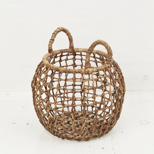 Waterhyacinth Open Weave Belly Basket with Handles
