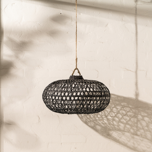 Handwoven Bamboo Short Light Shade Black