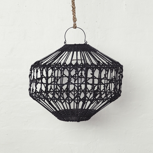 Luna Flat Rattan Light Shade Black