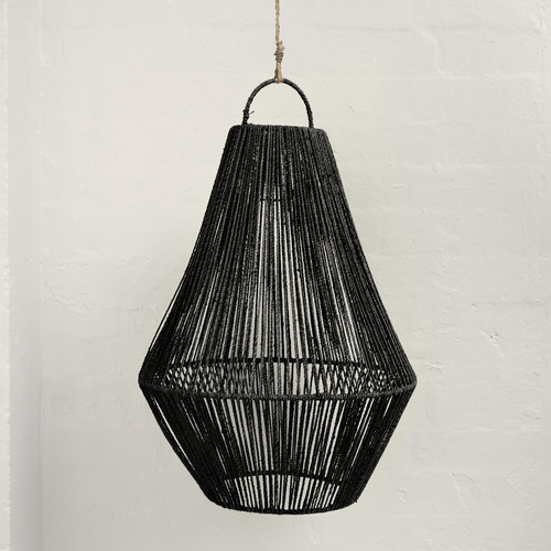 Adi Teardrop Jute Lighting in Black
