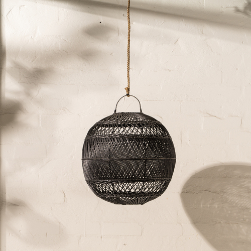 Anwen Rattan Ball Light Shade - Black